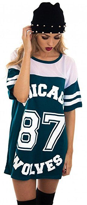 9268a11178f1a LADIES CHICAGO 87 WOLVES LONG MESH OVERSIZE BASEBALL BAGGY VARSITY SHIRT  TOP (M L (UK 12-14), Teal)   Women s Fashon   Pinterest   Shirts, Tops and  Womens ...