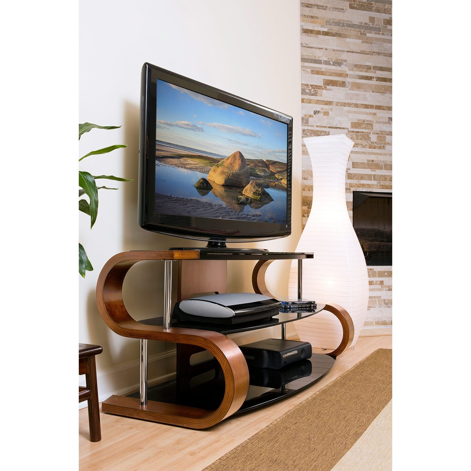 Beacon tv stand walnut contemporary entertainment - Wallpapering around a curved corner ...