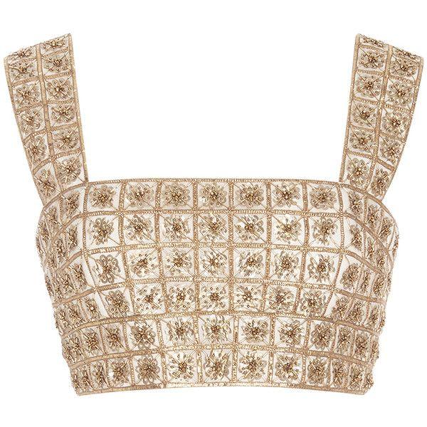 Oscar De La Renta Sleeveless Square Neck Lame Embroidered Top 25 770 Uyu Liked On Polyvore Featuring Tops Crop Top Blusas Camisas Blusas Lunares En Diseno