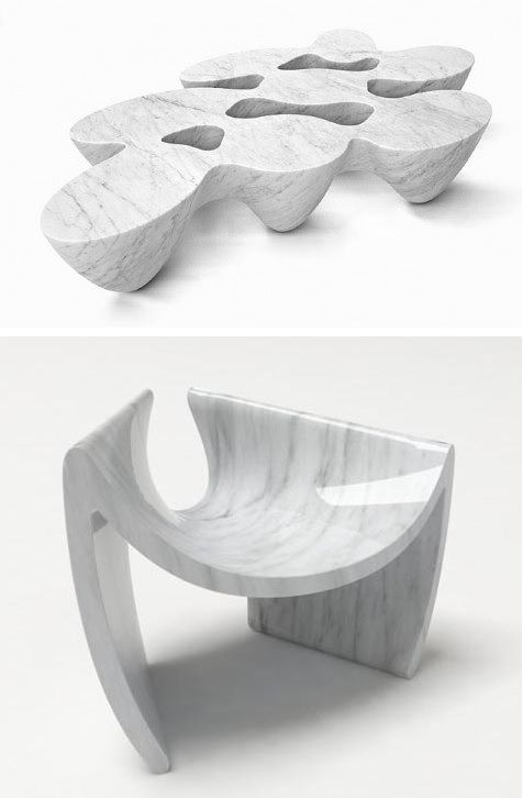 Beautiful Emmanuel Babled   Marble Design Quark Coffee Table (above) And Sunshare  Chair (below