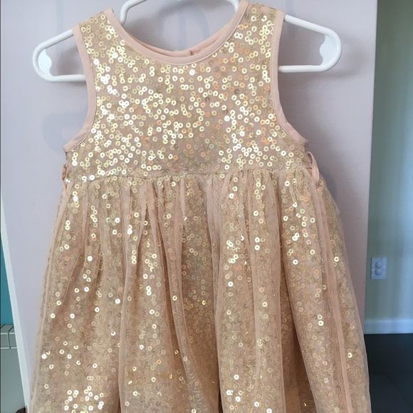 Monsoon Sequin Rose Gold Baby Dress