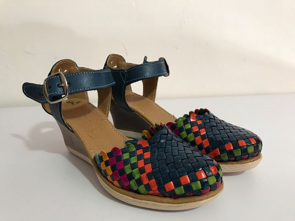 543170a96 New Handmade Mexican Shoes Leather Sandals Multicolor Wedges platforms  Huaraches #Handmade #PlatformsWedges