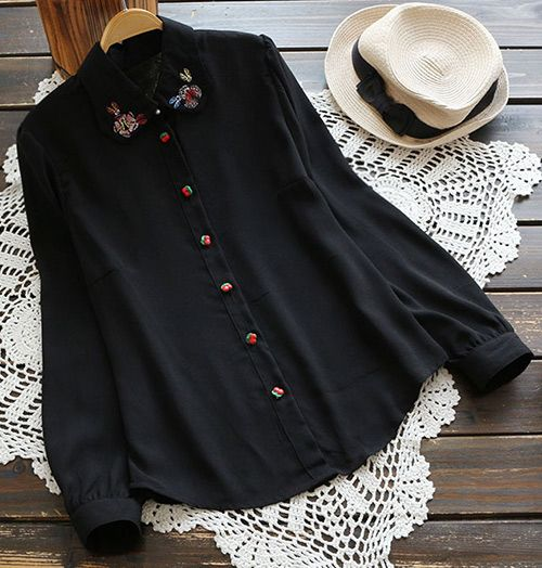 A heart that unique is always young. This black shirt with floral printing on both lapel, red button at front, long sleeves and soft fabric looks so cute and attractive; get more surprise at Cupshe.com!