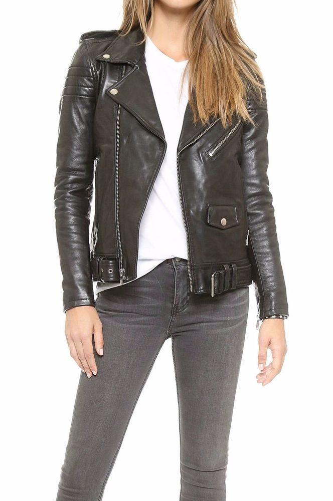 Women Leather Jacket Lambskin Motorcycle Biker Custom Made Real Leather WJ138
