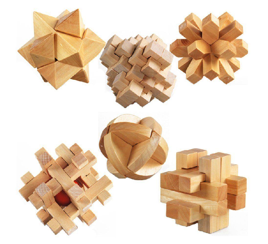 3D Wooden Cube Brain Teaser Puzzle, Set Of 6