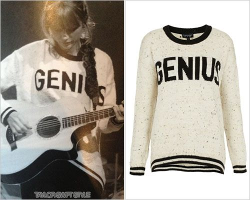 Rehearsing for the RED Tour TopShop 'Knitted Genius Sweater' - no longer available While this is unfortunately sold out via the original retailer, TopShop, there is a size 8 available on eBay for $53.