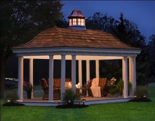 10 X 16 Vinyl Elongated Hexagon Belle Gazebo By Fifthroom 9699 00 Backyard Gazebo Hexagon Gazebo Backyard