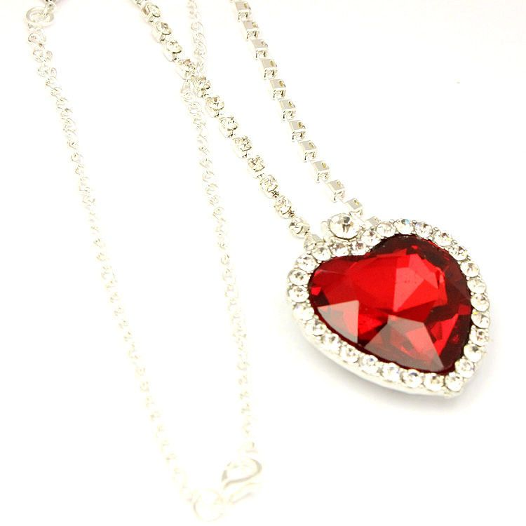 b41f43b4ff1f9 Ruby Red Heart & Crystal Titanic Necklace Large Pendant NEW Heart of ...
