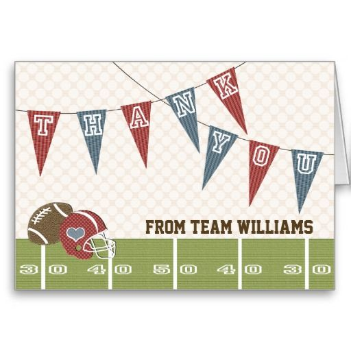 Football Pennant Thank You Card! Make your own foldedcards more - make your own thank you cards