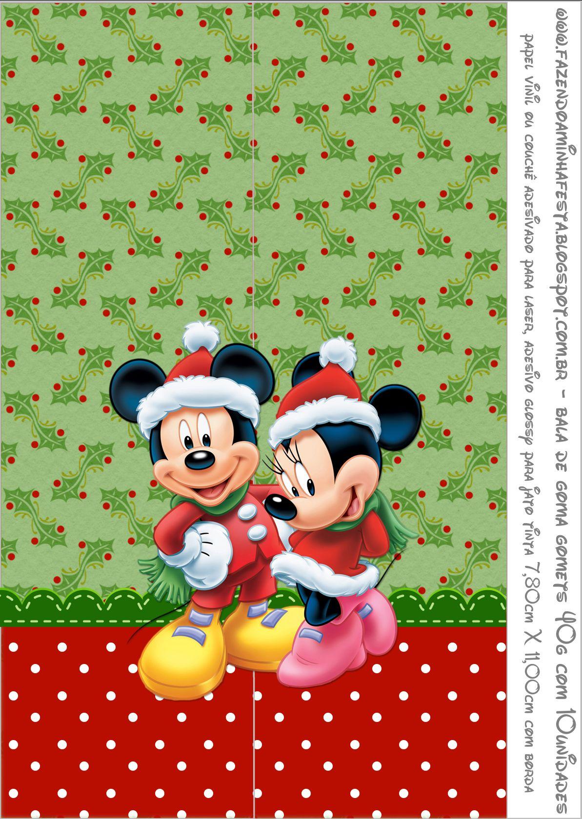 Rotulo Bala De Goma Gomets Natal Mickey E Minnie