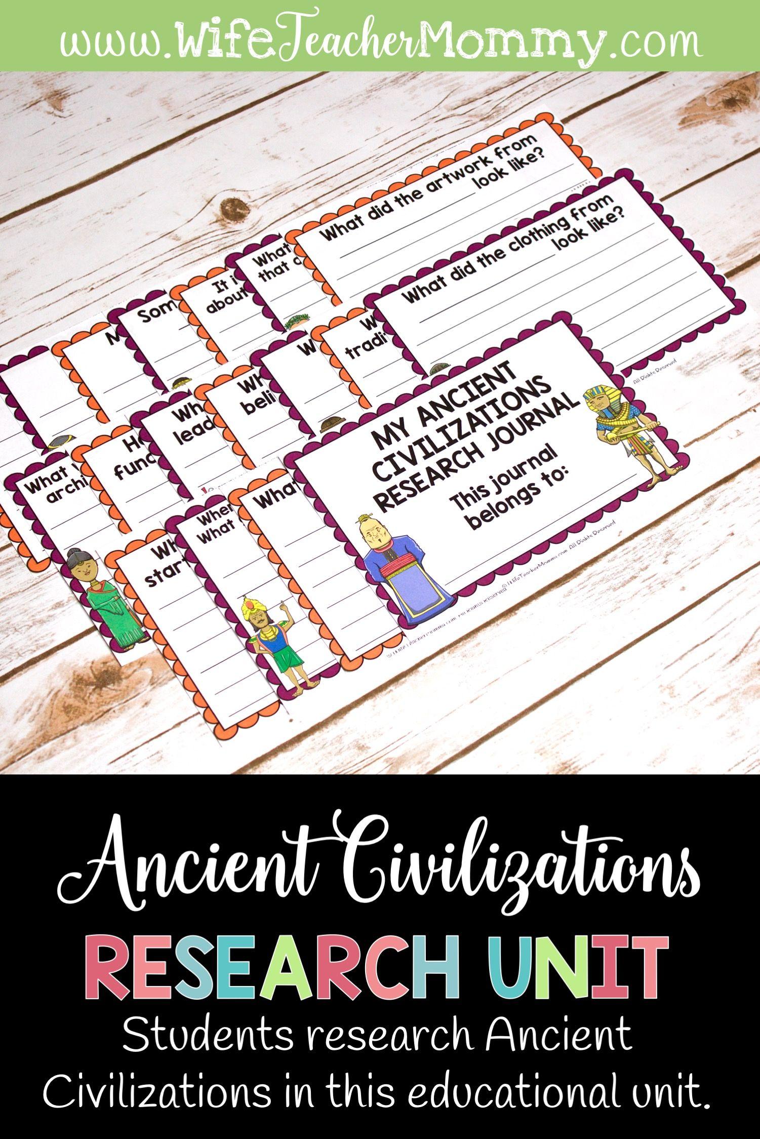 Ancient Civilizations Research Unit Printable