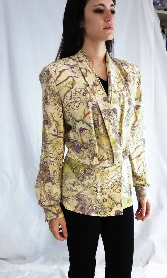 Vintage dana buchman silk blouse in old world map print wrap with vintage dana buchman silk blouse in old world map print wrap with shawl collar gumiabroncs Gallery