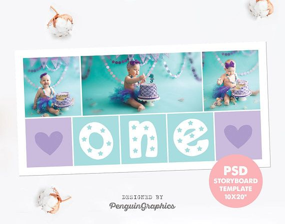 Storyboard Template Birthday Collage Cake Smash Photo Editable Photoshop PSD File 10x20 For Instant Download CT05