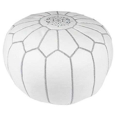 Embroidered Leather Pouf GrayWhite Benches Poufs Ottomans Enchanting Embroidered Leather Pouf