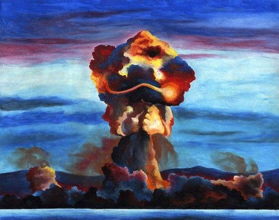 Rainbow Mushroom Cloud original oil pastel