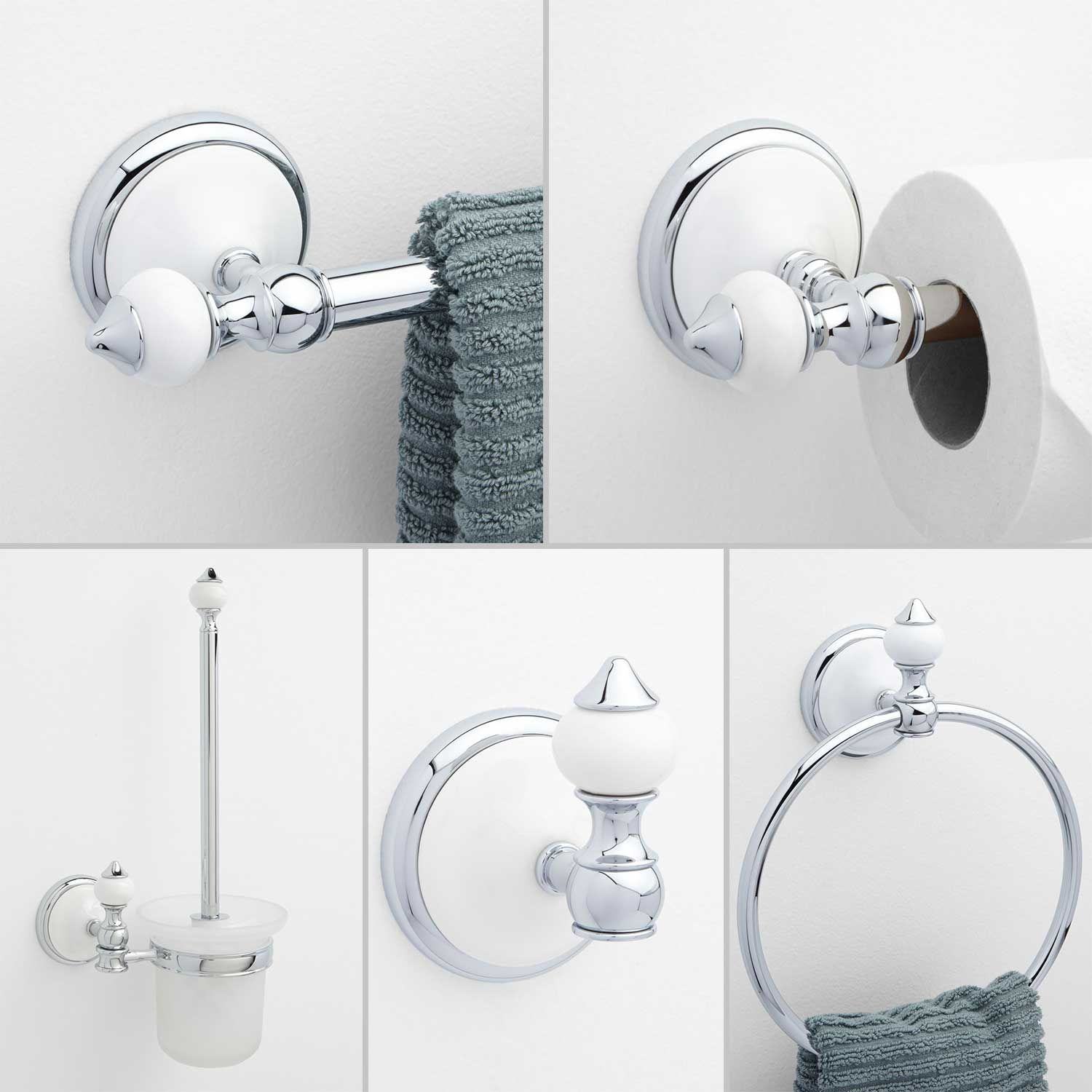 Adelaide 5 Piece Collection Bathroom Accessory Set Brass