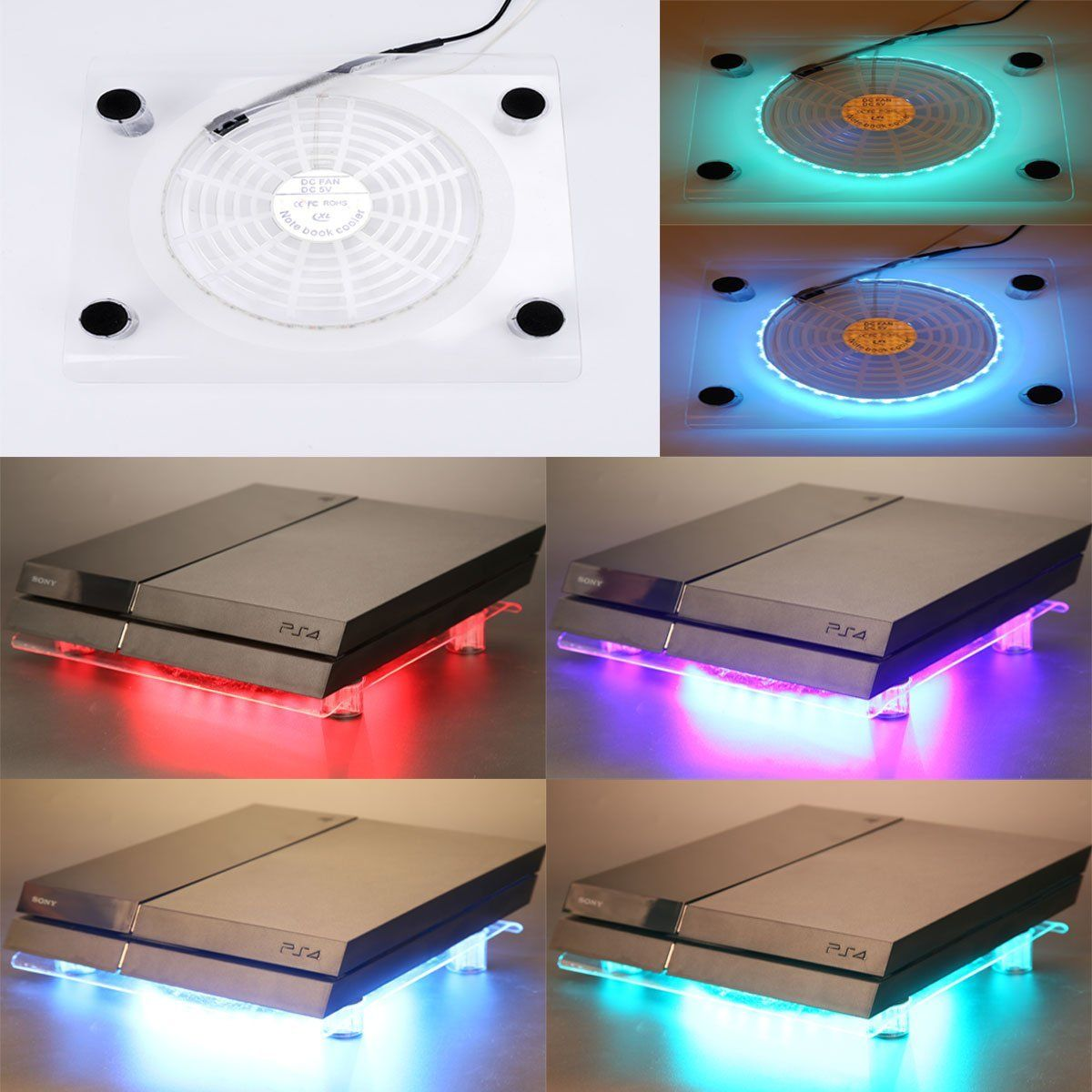 Wowled Usb Rgb Led Design Cooler Cooling Transparent Fan Pad