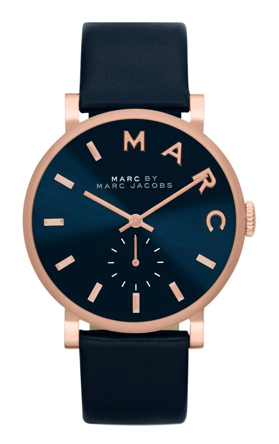 3c28e1ddb49 The understated elegance of this polished navy and rose gold Marc Jacobs  watch makes it perfect for everyday wear.
