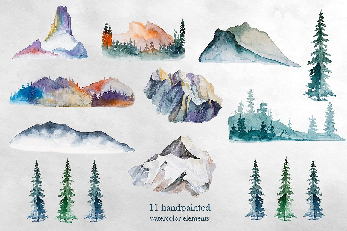 Watercolor Mountains Clipart Watercolor Mountains Watercolor