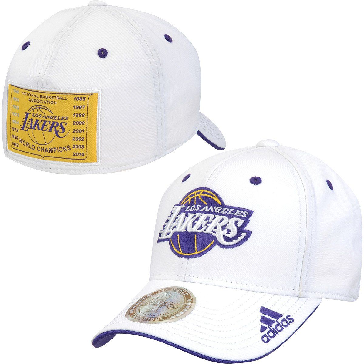 6f876d163e07ca adidas NBA Los Angeles Lakers White 16X Champions Fitted Hat Cap Adult,  $29.99