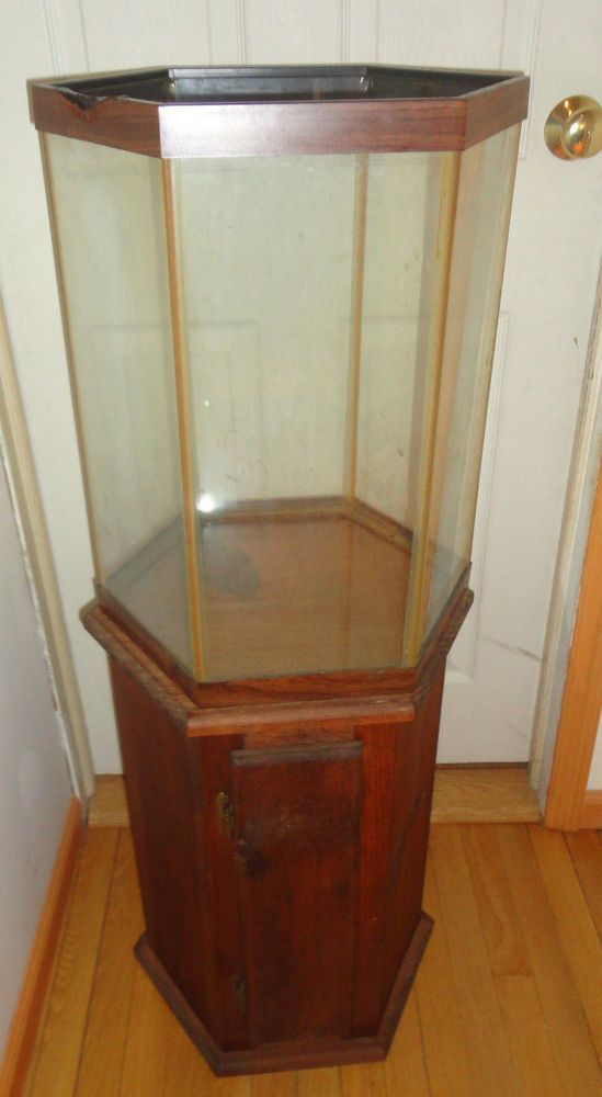 6 Sided Hexagon Fish Tank Aquarium With Wood Storage Stand