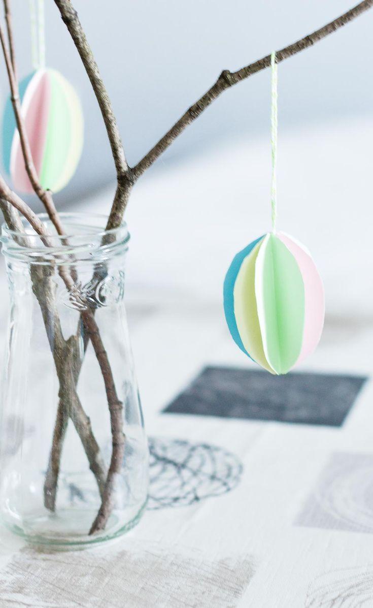 DIY Ostereier aus Papier basteln - schöne, günstige Osterdeko