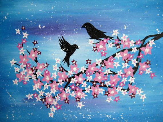 japanese art cherry blossom paintings made in by sheerjoy on etsy