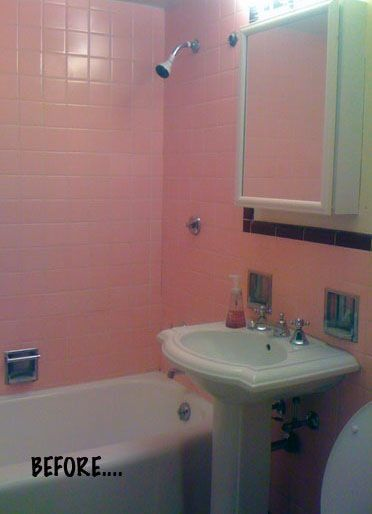 Before After A Demo Free Bathroom Renovation Pink Bathroom