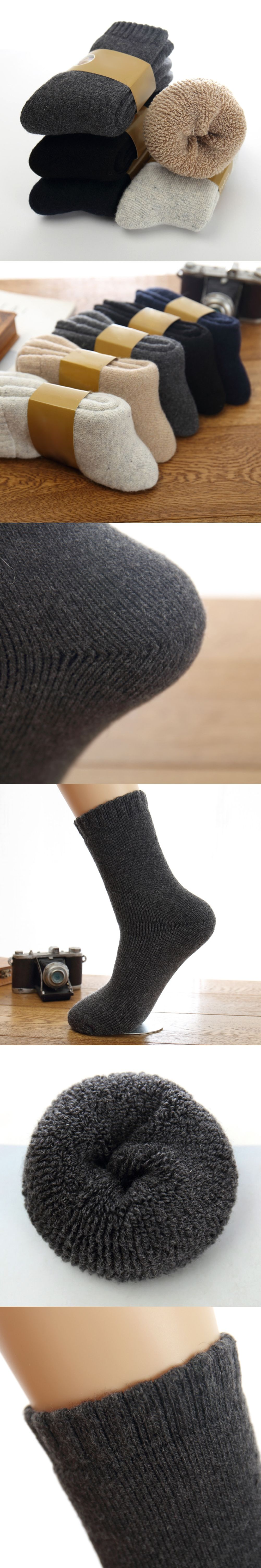 f8139806f9 3 Pairs/Set Winter Resist Cold Thicken Men Wool Solid Color Tube Socks Pile  Socks