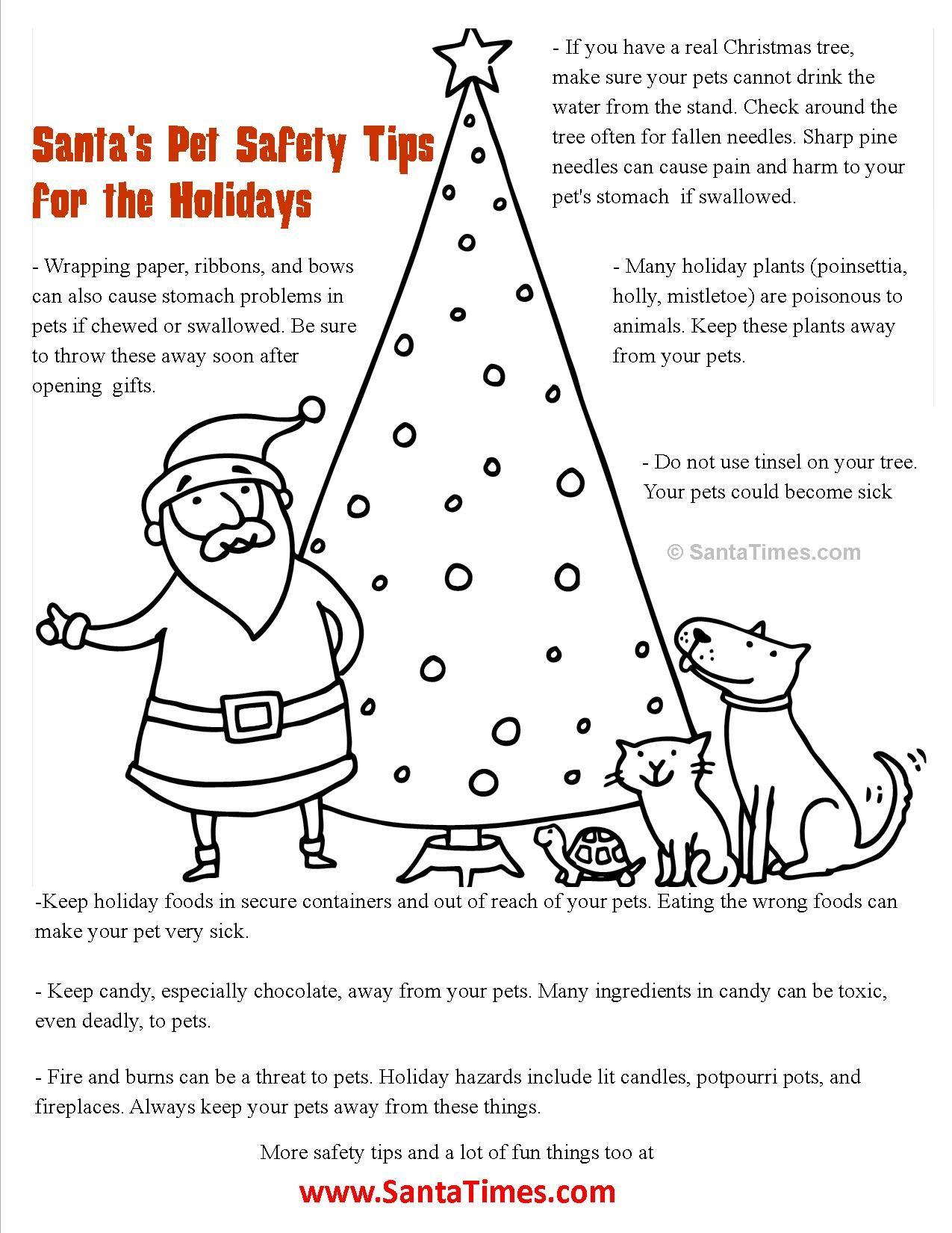 santas christmas pet safety coloring page more at wwwsanta tcom