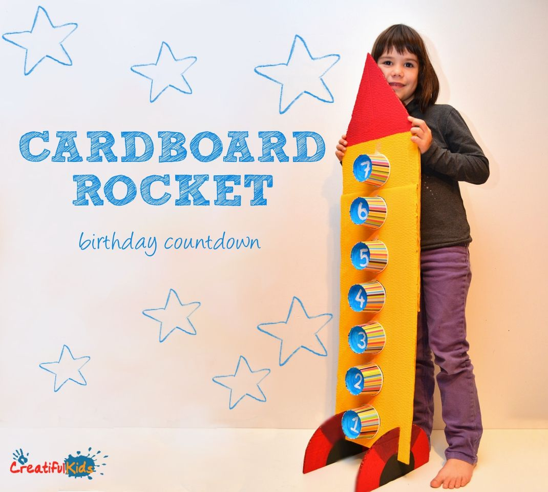 Cardboard Rocket Ship Birthday Countdown