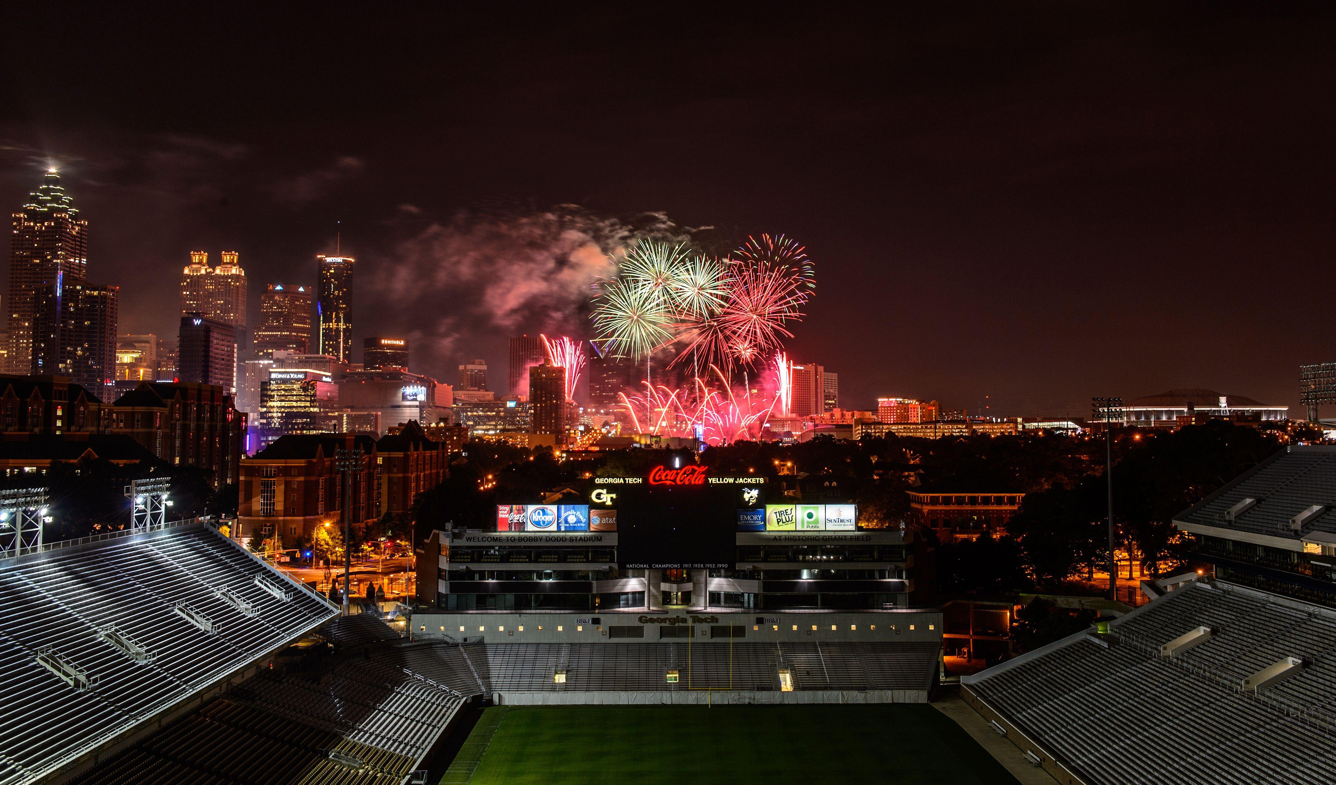 Great Photo Of Downtown Atlanta Fireworks From The Fourth Of July Inside Bobby Dodd Stadium By Danny Kar Georgia Tech Football Georgia Tech Texas Tech Football
