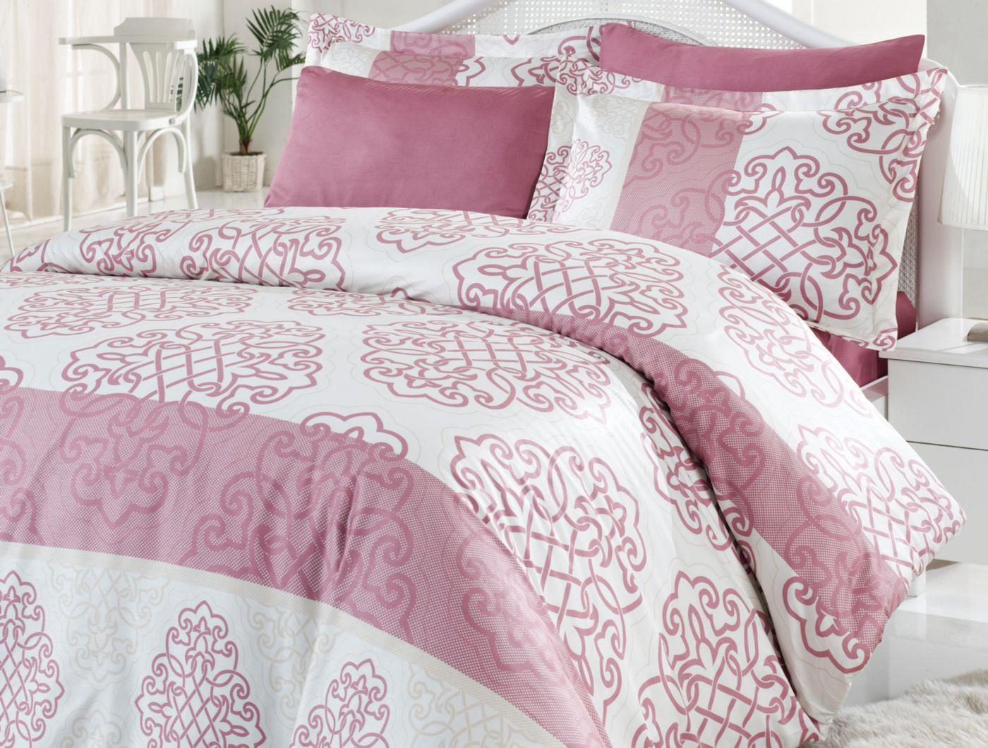irya 6 tlg satin bettw sche set sarayli 200x220 cm rose bettw sche der webstoff aus dem die. Black Bedroom Furniture Sets. Home Design Ideas