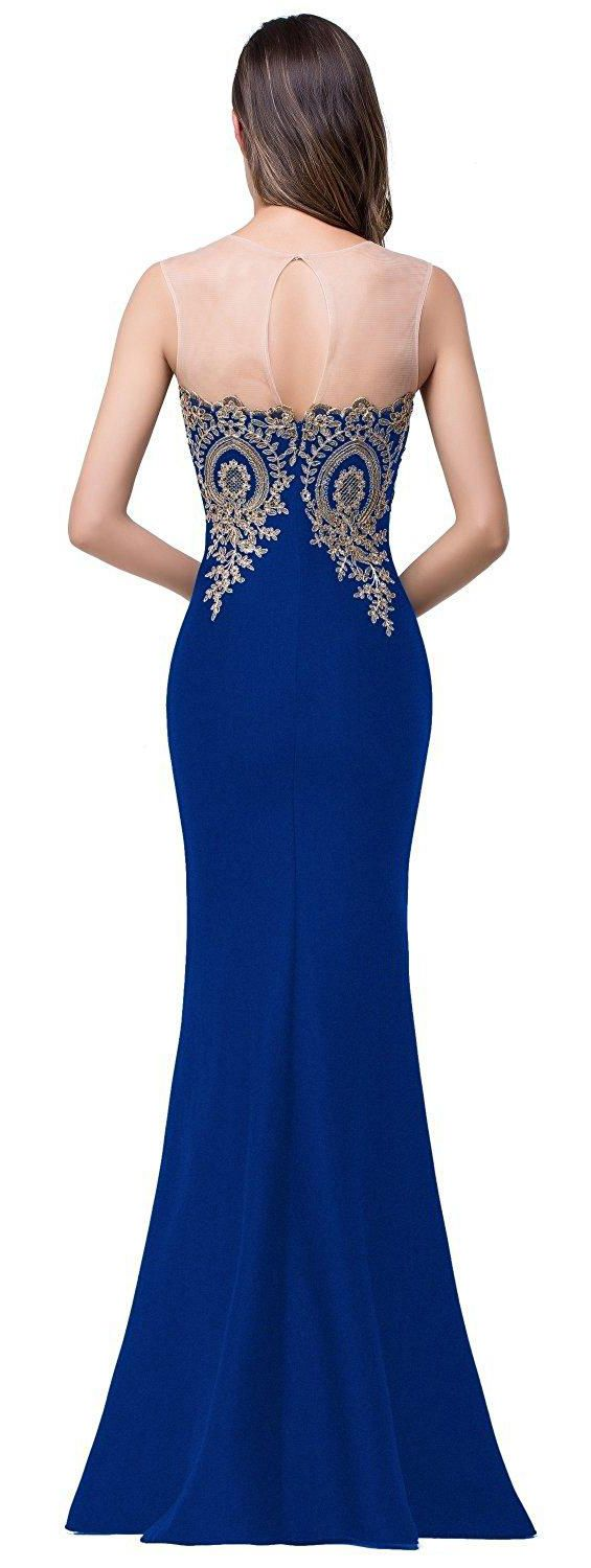 US$111.40-Elegant Illusion Neckline Appliqued Sheath Blue Long Prom Dress 2017. https://www.newadoringdress.com/mermaid-sweetheart-bell-appliques-zipper-tulle-lace-satin-dress-p331722.html.  Free Shipping! As a global online dress shopping destination, NewAdoringDress selected the best prom dresses, party dresses, cocktail dresses, formal dresses, maxi dresses, evening dresses and dresses for teens such as sweet 16, graduation and homecoming. #NewAdoringDress