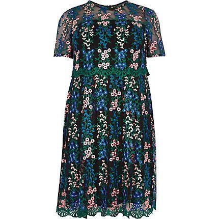 Plus floral mesh skater dress £40.00
