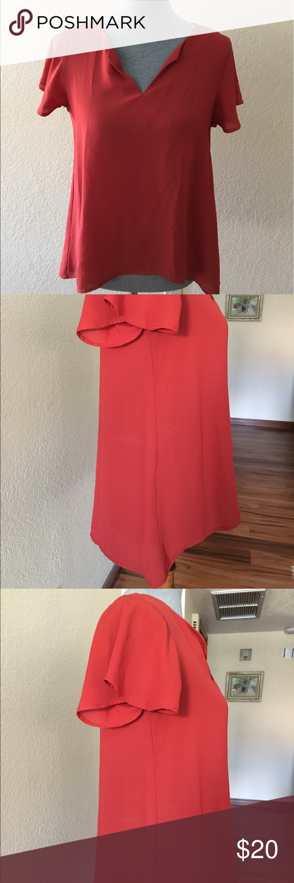 Red top with flutter sleeves  Bobeau Flutter sleeves, longer back, NWT Bobeau Tops