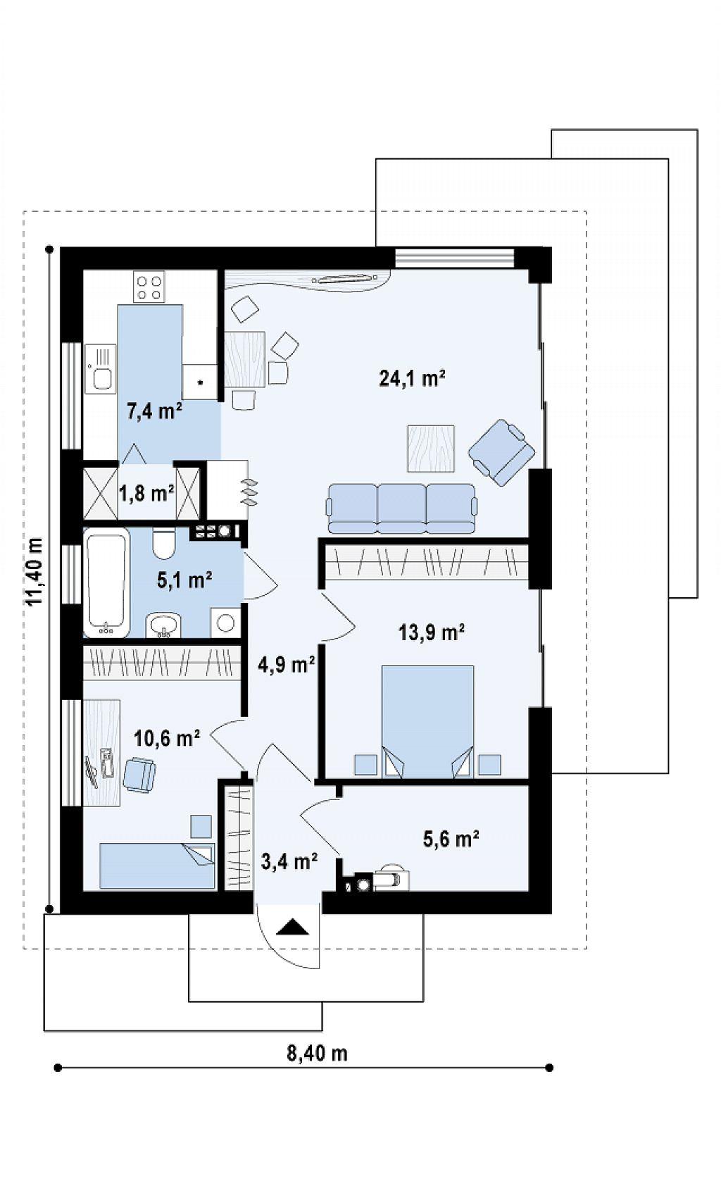 Z500.si - Tipski projekti hiš in garaž - Z254
