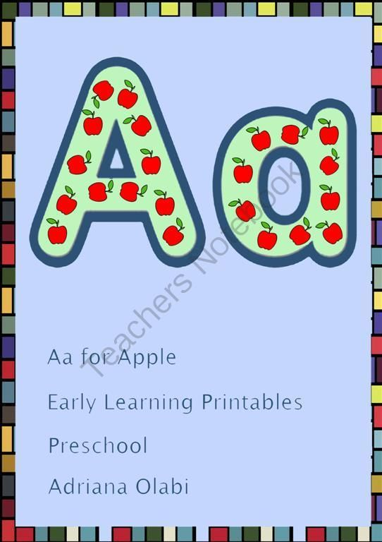 Free Aa for Apple Printable from Preschool Rays (20 pages