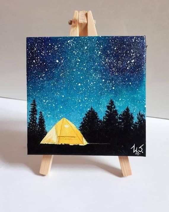 Mini Galaxy Tent Pine Trees Acrylic Painting Original Art Tiny