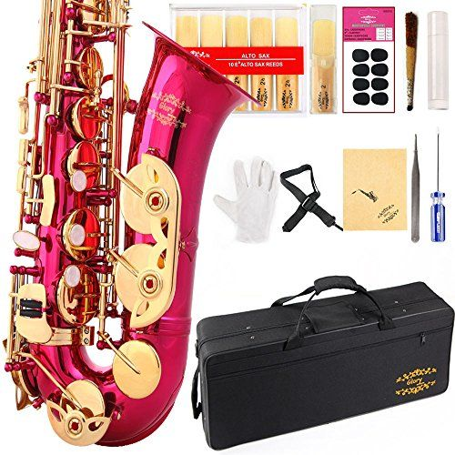 What a great looking Sax.  Glory Pink/Gold Keys E Flat Alto Saxophone. More Colors with Silver or Gold keys - http://MusicalInstruments4u.com