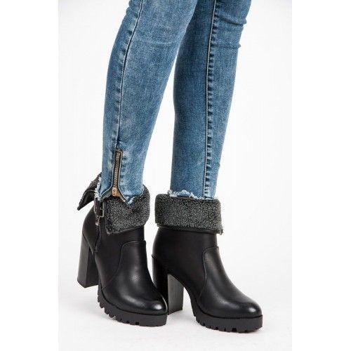 Dámské kotníkové boty Abloom Roya černé – černá Pohodlné kotníkové boty na  podpatku s kožíškem. c4134e5bf4