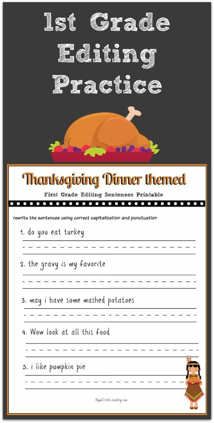 Worksheets Editing Practice Worksheets thanksgiving 1st grade editing printable november pinterest this sentence is perfect for with your early readers the simple grammar fixes are great keeping