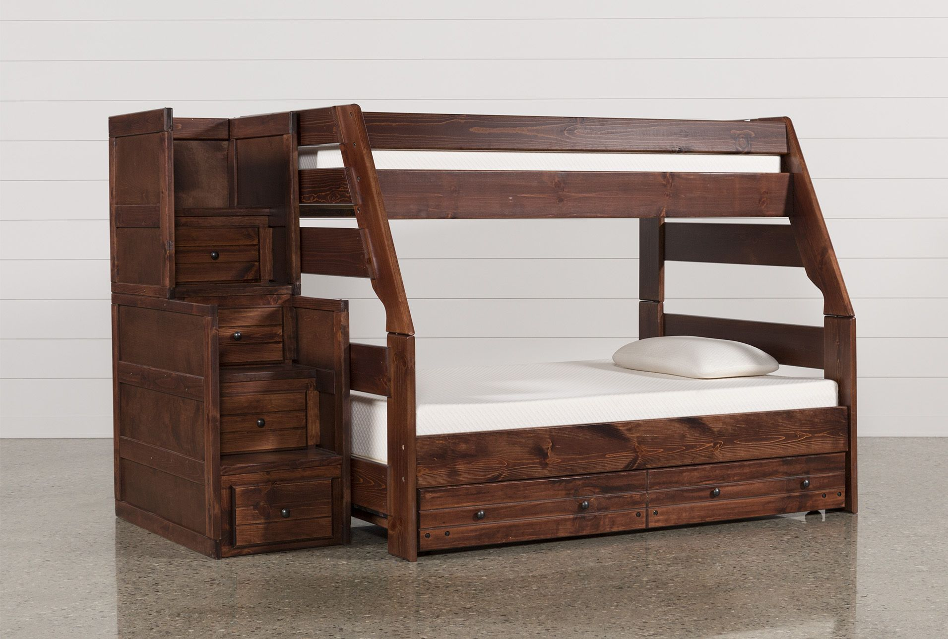 Sedona Twin Over Full Bunk Bed With Trundle Mattress Stairway Chest Bunk Bed With Trundle Twin Bunk Beds Bunk Beds