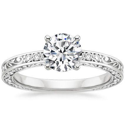 18K White Gold Delicate Antique Scroll Diamond Ring Brilliant