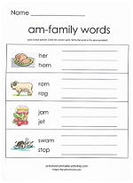 free word family worksheets from www.preschool-printable ...