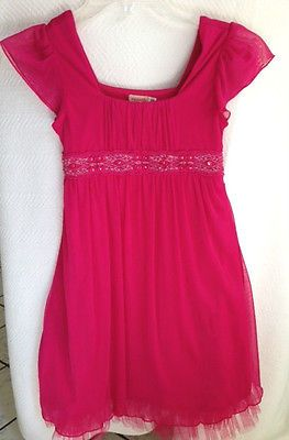 GIRL'S PRETTY BRIGHT PINK PARTY DRESS - SIZE S  WORN ONLY ONCE!