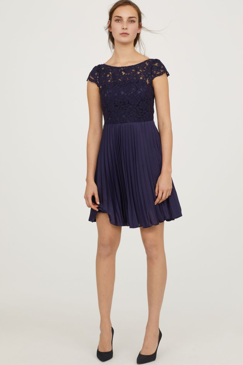 Pleated Dress Dark Blue Women H M Us Pleated Dress Fashion Clothes For Women