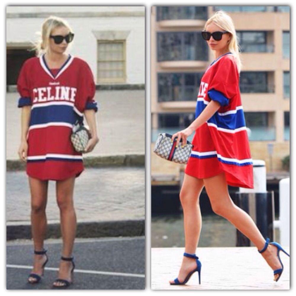 Celine Hockey Jersey Dress Baseball Jersey Outfit Women Jersey Fashion Sports Jersey Outfit