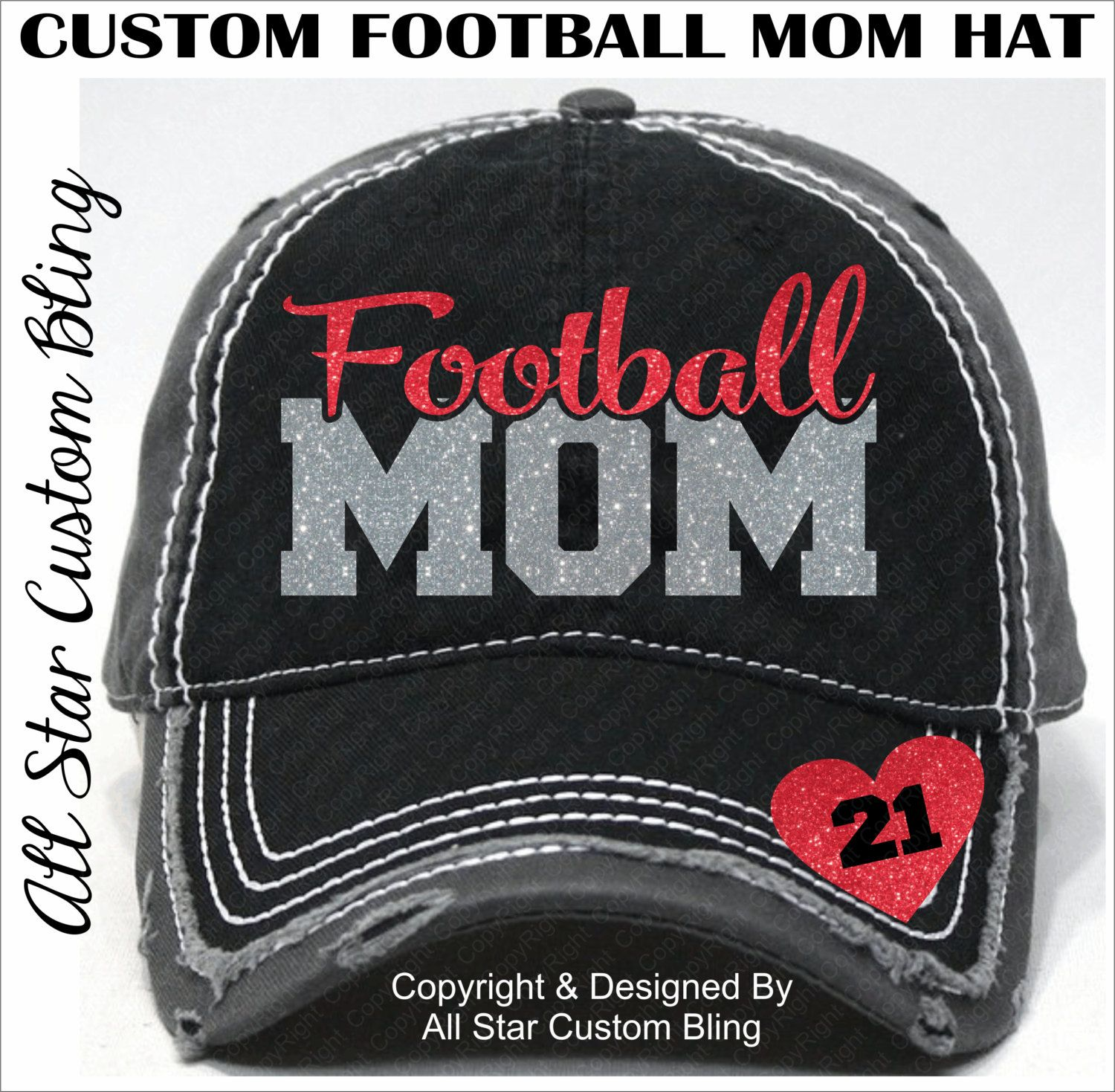 b3e2dd3bb8c Glitter Football Mom Hat, Football Mom Distressed Hat, Mom Football Hat,  Custom…