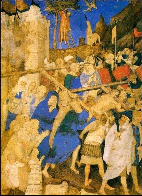 """Les Grandes heures de Jean de Berry, """" Le portement de croix """" Musée du Louvre, Paris"""